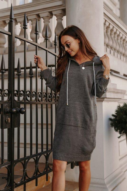Swetrowa sukienka sportowa z kieszenią -  LSG132 - grafit-1