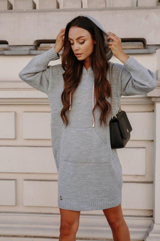 Swetrowa sukienka sportowa z kieszenią -  LSG132 - jasnoszary-6