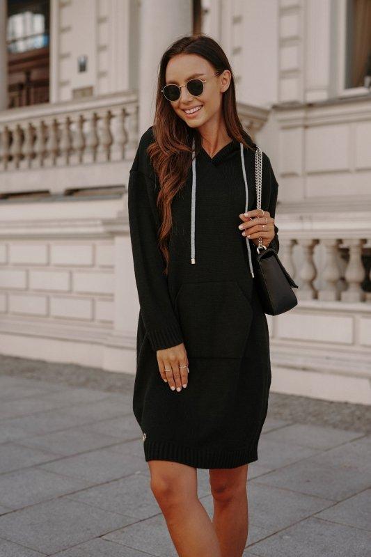 Swetrowa sukienka sportowa z kieszenią -  LSG132 - czarny-7