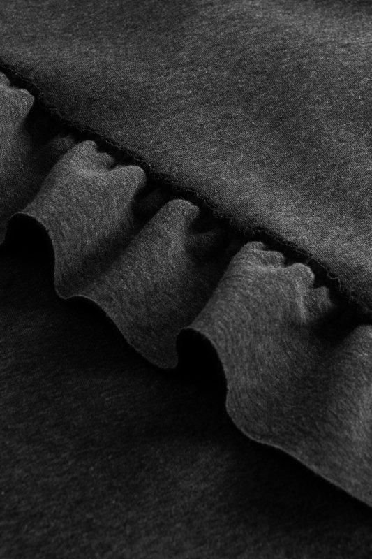 Bawełniana sukienka/bluza z falbaną LN119 - Grafit - 4