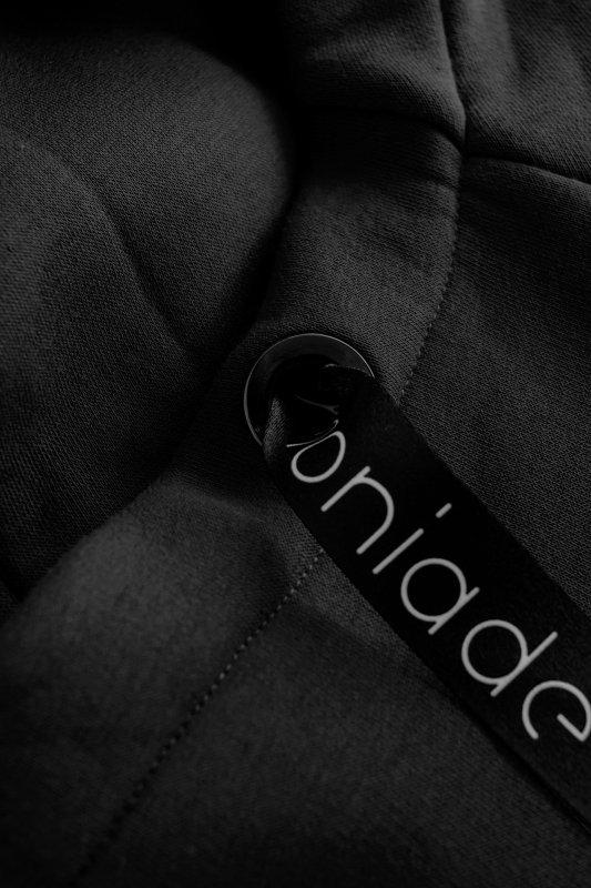 Bawełniana sukienka/bluza z falbaną LN119 - Czarna - 3