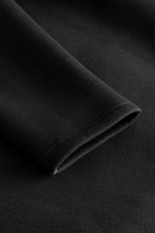 Bawełniana sukienka/bluza z falbaną LN119 - Czarna - 5