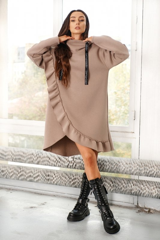 Bawełniana sukienka/bluza z falbaną LN119 - capucino - 7