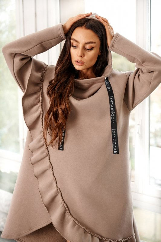 Bawełniana sukienka/bluza z falbaną LN119 - capucino - 11