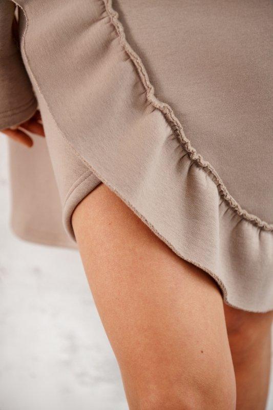 Bawełniana sukienka/bluza z falbaną LN119 - capucino - 13