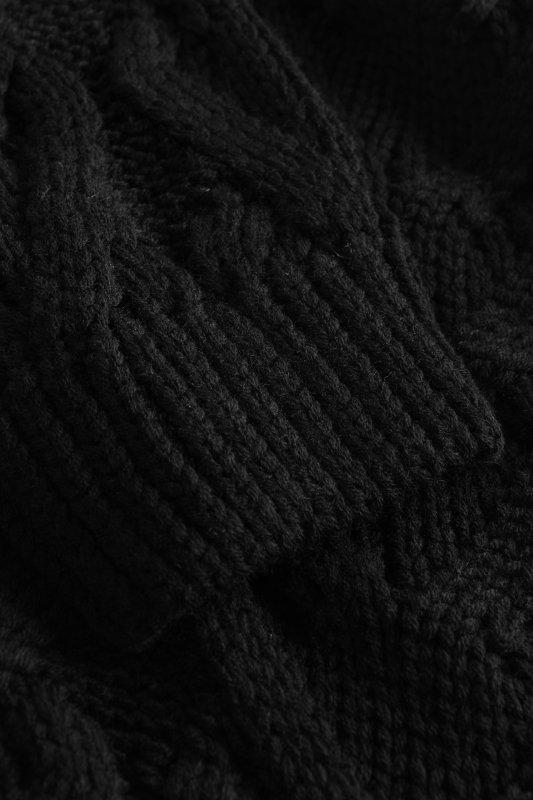 Luźny kardigan ze splotem -  LS297 - czarny-11