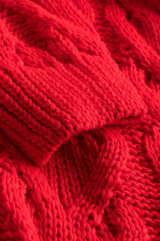 Luźny kardigan ze splotem -  LS297 - czerwony -10