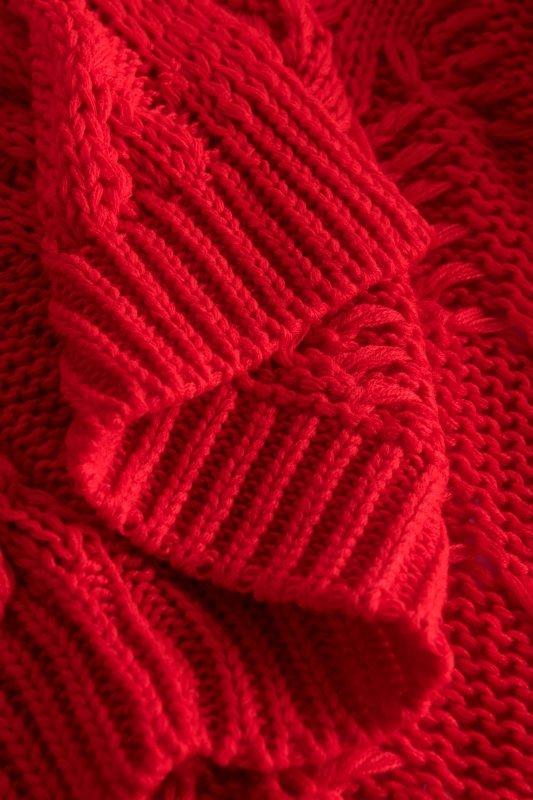 Luźny kardigan ze splotem -  LS297 - czerwony -11