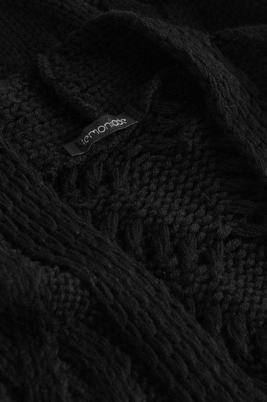 Luźny kardigan ze splotem -  LS297 - czarny-10