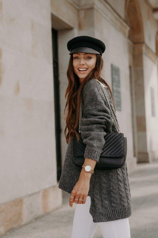 Sweter z guzikami i dłuższym tyłem - LS307-grafit -5