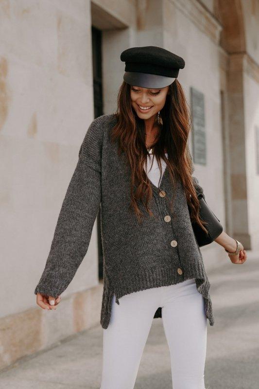 Sweter z guzikami i dłuższym tyłem - LS307-grafit -6