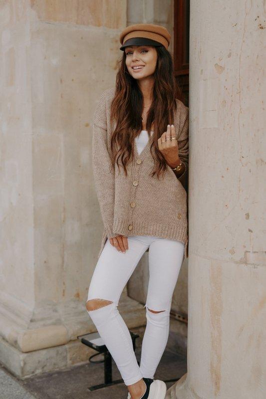Sweter z guzikami i dłuższym tyłem - LS307-capucino -2