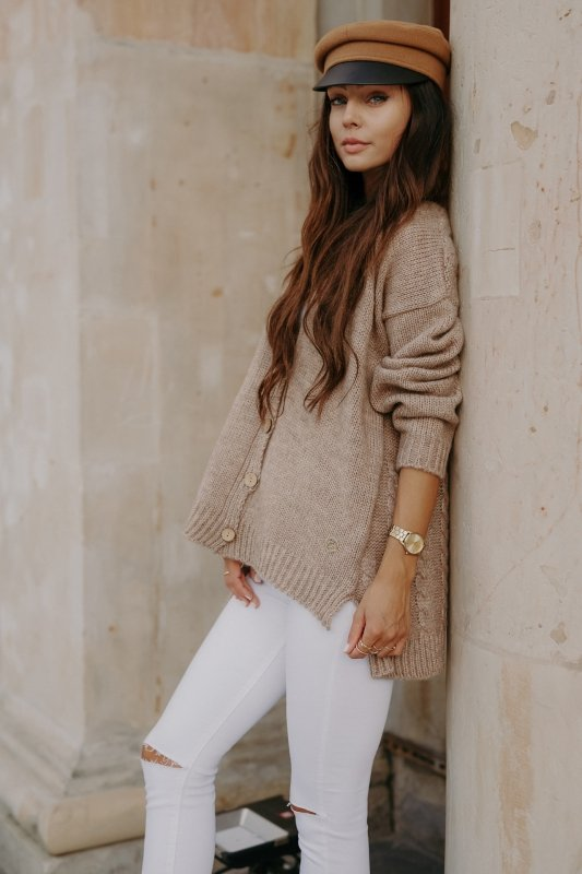 Sweter z guzikami i dłuższym tyłem - LS307-capucino -3
