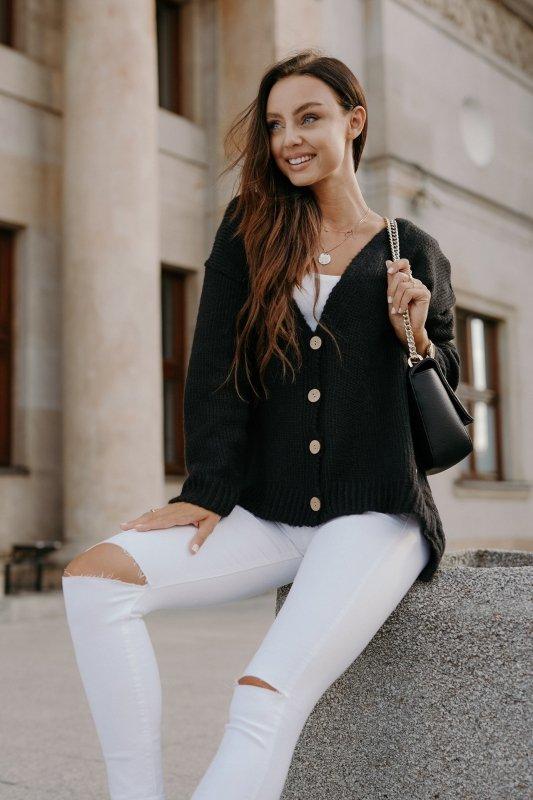 Sweter z guzikami i dłuższym tyłem - LS307-czarny -4