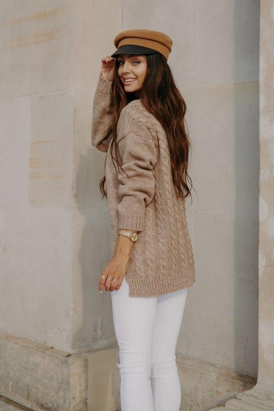 Sweter z guzikami i dłuższym tyłem - LS307-capucino -12