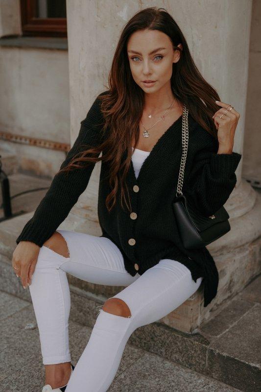 Sweter z guzikami i dłuższym tyłem - LS307-czarny -5