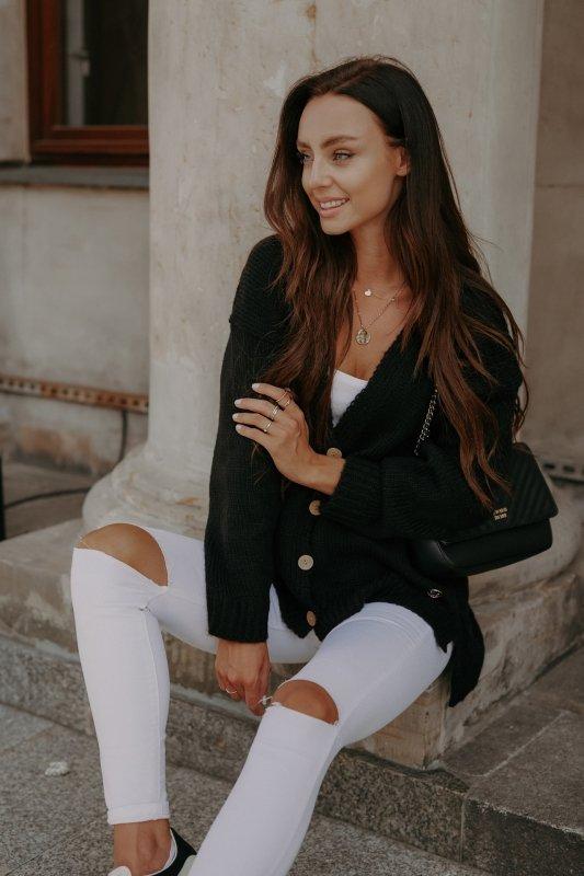 Sweter z guzikami i dłuższym tyłem - LS307-czarny -6