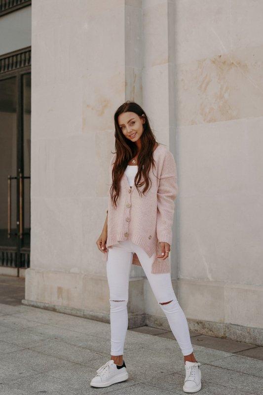 Sweter z guzikami i dłuższym tyłem - LS307- pudrowy róż -3