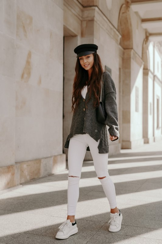 Sweter z guzikami i dłuższym tyłem - LS307-grafit -1
