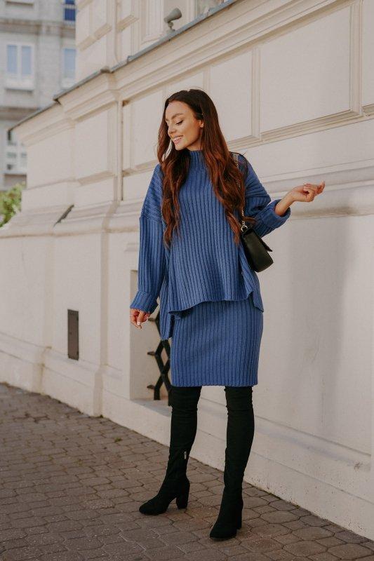 Komplet swetrowy – spódnica i sweter z golfem - jeans - 1