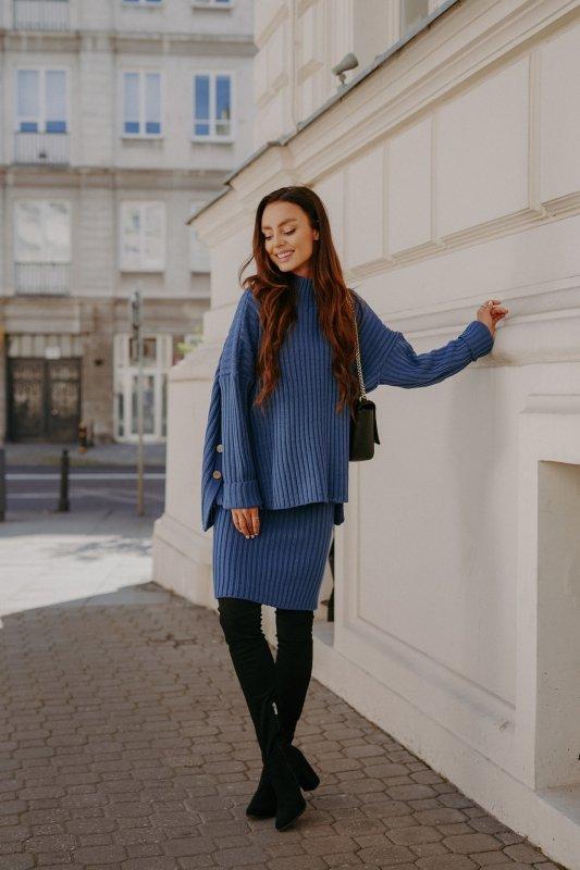Komplet swetrowy – spódnica i sweter z golfem - jeans - 3