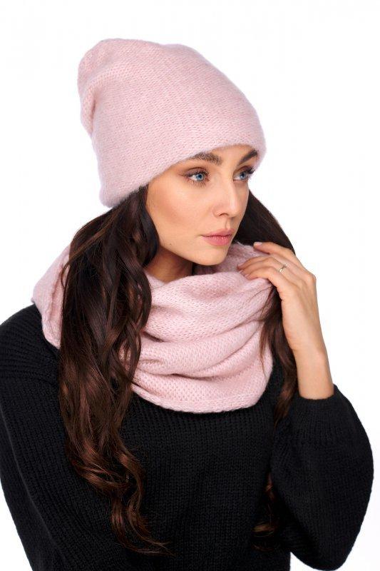 Basicowy komplet czapka z perełką i komin LC141 - pudrowy róż - 3