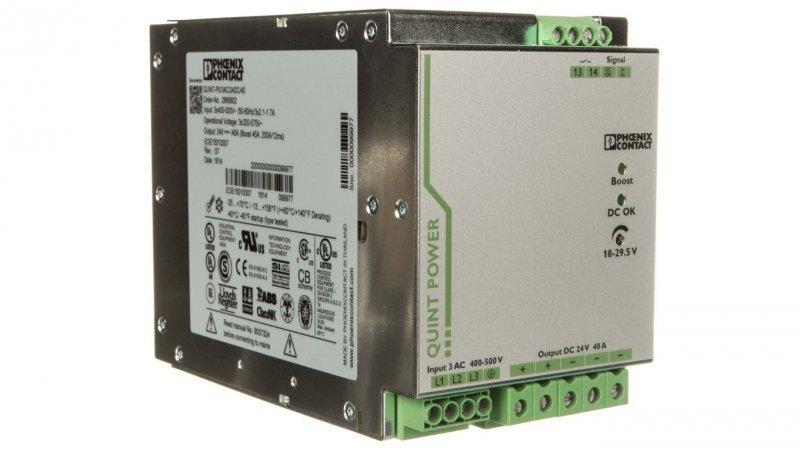 Zasilacz impulsowy 400-500V AC/24V DC 960W 40A (modułowy) QUINT-PS/ 3AC/24DC/40 2866802