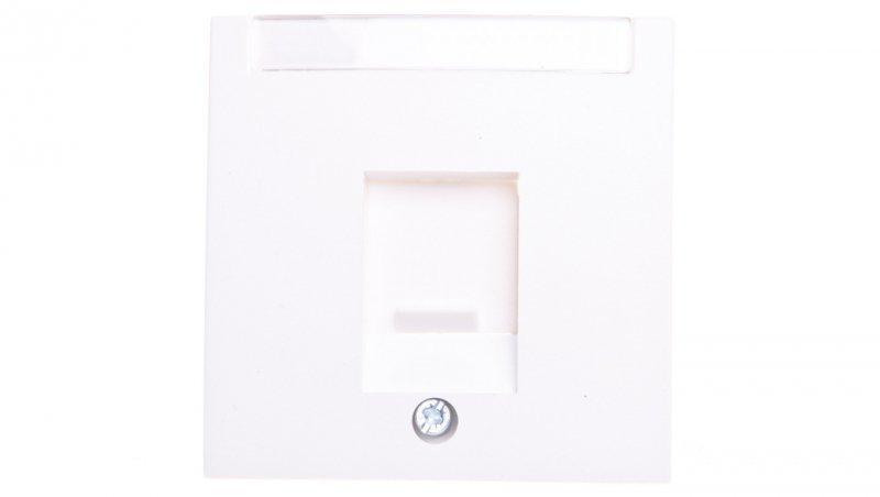 B.Kwadrat/S.1/B.3/B.7 Płytka czołowa pojedyncza z zasuwą chroniącą przed kurzem i polem opisowym, biały 11701909