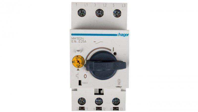 HAGER Wyłącznik silnikowy 3P 0,06kW 0,16-0,24A MM502N