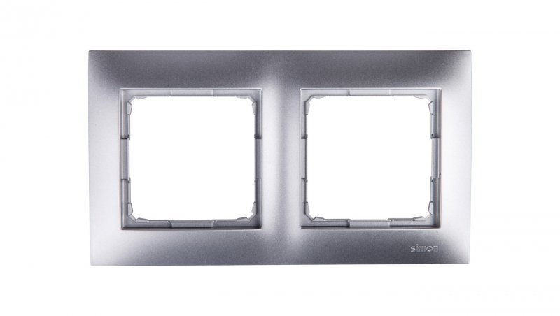 Simon 54 Premium Ramka podwójna srebrny mat DR2/43