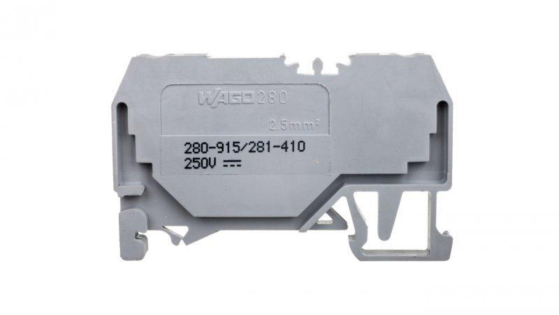 Złączka szynowa 2-przewodowa z diodą 1N4007 2,5mm2 szara 280-915/281-410