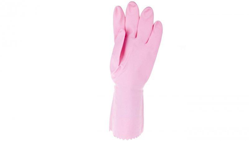 Rękawice gospodarcze z lateksu flokowane różowe rozmiar 8,5 ZEPHIR 210 VE210RO08