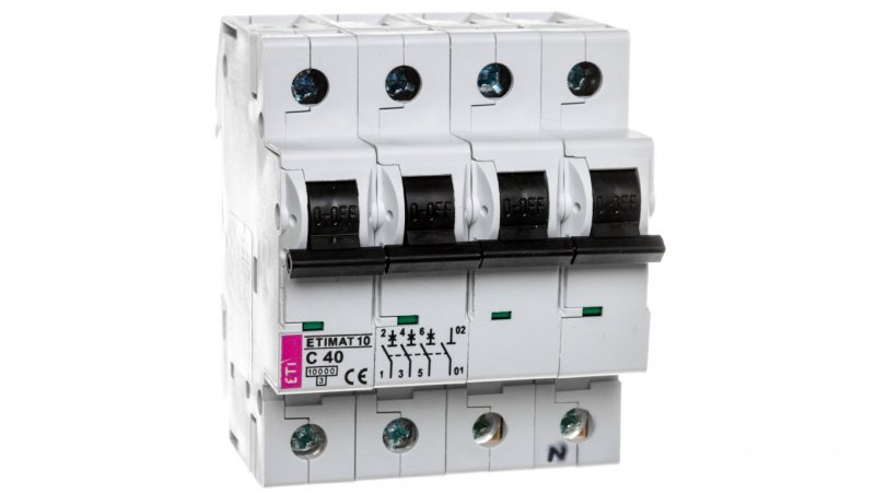 Wyłącznik nadprądowy 3P+N C 40A 10kA AC ETIMAT10 002136720