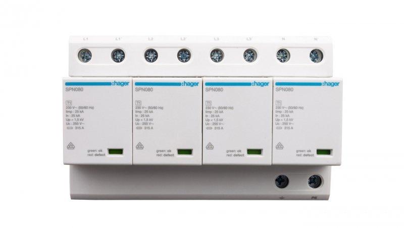 Ogranicznik przepięć B+C Typ 1+2 4P 100kA SPN801