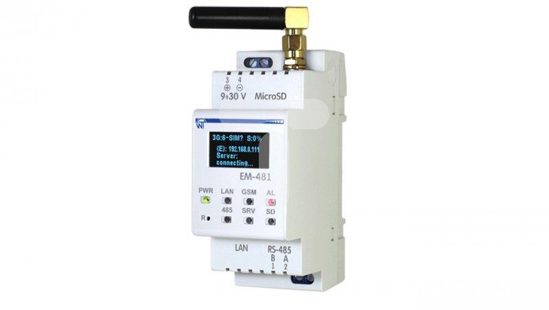 Konwerter sygnałów RS-485 Modbus RTU na Ethernet do SMSowego powiadamiania EM-481