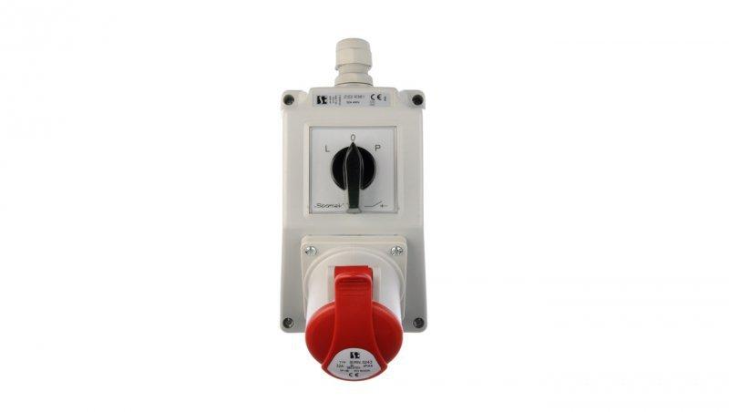 Zestaw instalacyjny z gniazdem 32A 4P (L-0-P) czerwony ZI02R361