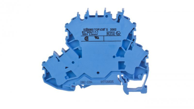 Złączka szynowa 2-pietrowa 2,5mm2 N/N niebieska 2002-2204 TOPJOBS