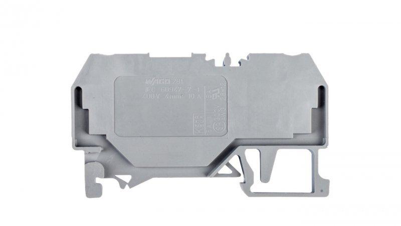 Złączka szynowa 2-przewodowa 4mm2 szara 281-916