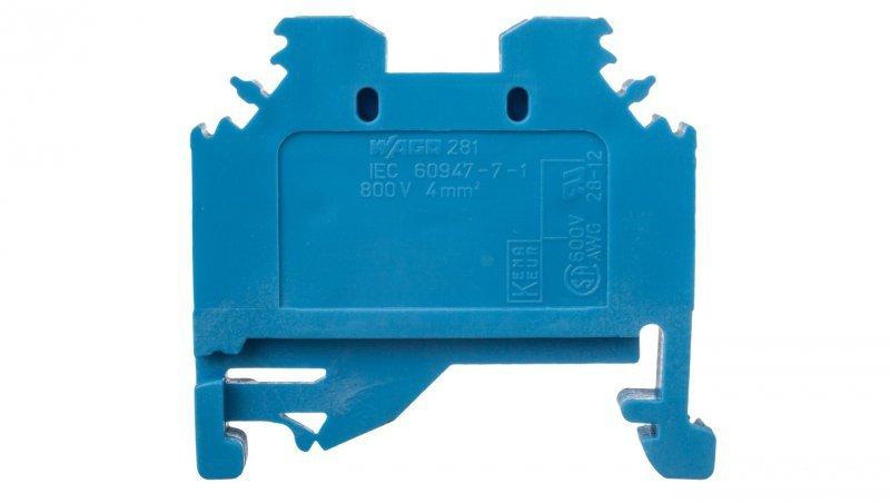 Złączka szynowa 2-przewodowa 4mm2 niebieska 281-104
