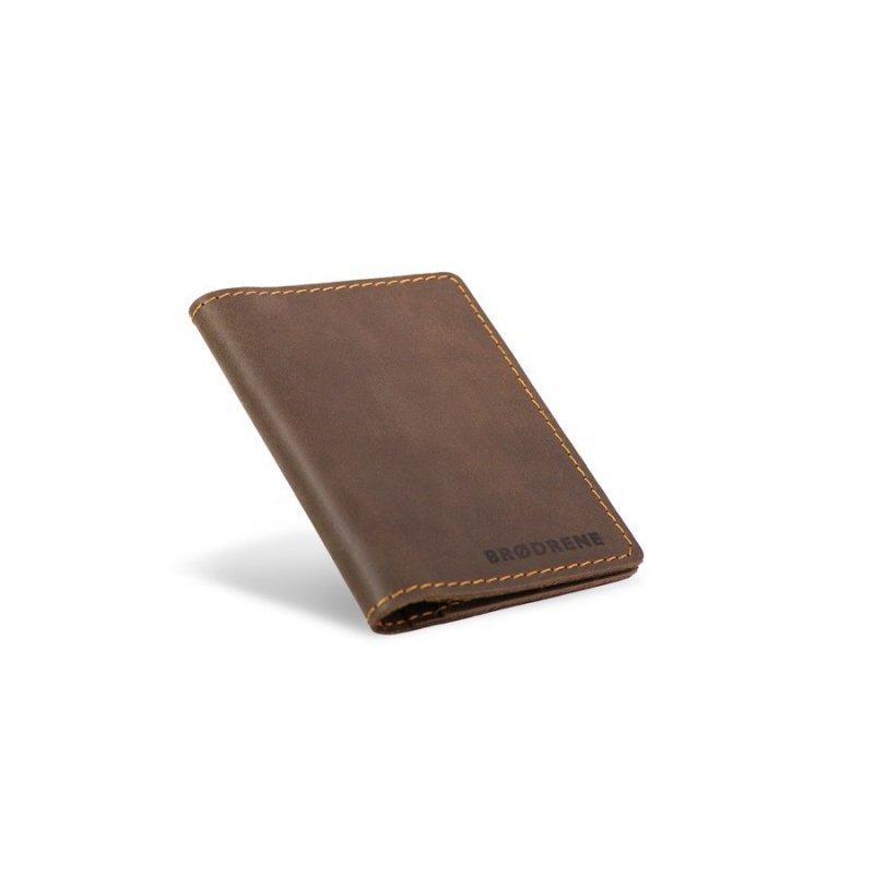 Skórzany cienki portfel slim wallet brødrene ciemny brąz