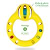Okrągła grzechotka w kolorze żółtym z kolorowymi piłeczkami