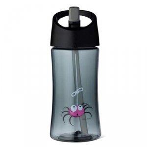 Transparentny bidon ze słomką 350 ml szary - Pająk/Spider