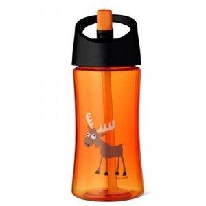 Transparentny bidon ze słomką 350 ml -Pomarańczowy Łoś