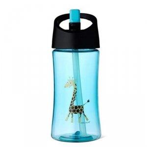 Transparentny bidon ze słomką 350 ml - Niebieska Żyrafka
