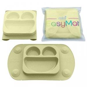 Silikonowy talerzyk z podkładką - lunchbox - EasyTots - EasyMat Mini 2in1OLIVE