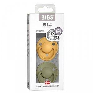 Smoczek uspokajający silikonowy dla dziecka BIBS DE LUX ONE SIZE 2- PACK HONEY BEE & OLIVE