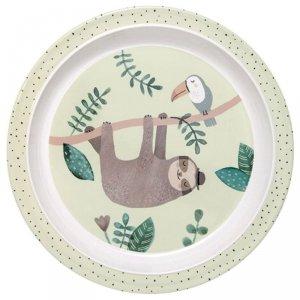 Talerz płaski dla dziecka z melaminy Leniwiec - Petit Monkey