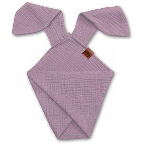 Pieluszka dla niemowląt dou dou z uszami królika z organicznej BIO bawełny GOTS cozy muslin with ears 2in1 Blush - Hi Little One