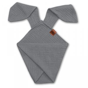 Pieluszka dla niemwląt dou dou z uszami królika z organicznej BIO bawełny GOTS cozy muslin with ears 2in1 Grey - Hi Little One