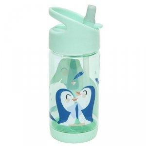 Bidon transparentny ze składanym ustnikiem i słomką -  Słoń i Pingwiny